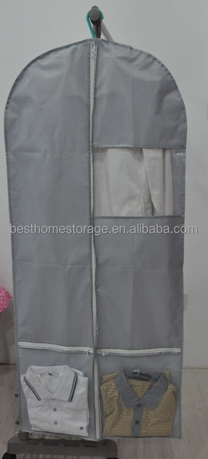 Breathable Garment Bag With See Through Window Shoe Pocket