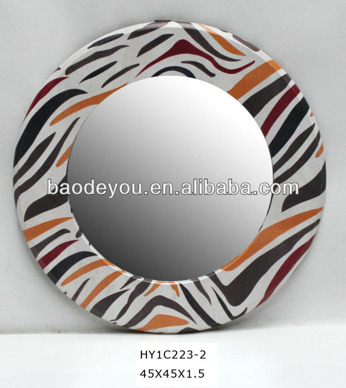 zebra-stripe decorative round wall mirror
