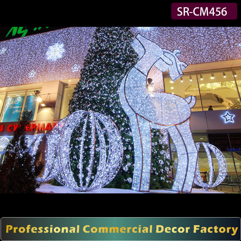 Customize commercial shopping mall 1m 2m 3m giant outdoor Christmas reindeer decoration