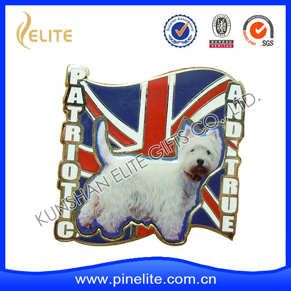 dog pet printed souvenir lapel pins,good quality custom metal badge emblem