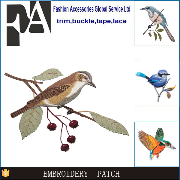 Custom polyester various birds shapes cheap 3D embroidery patch iron on
