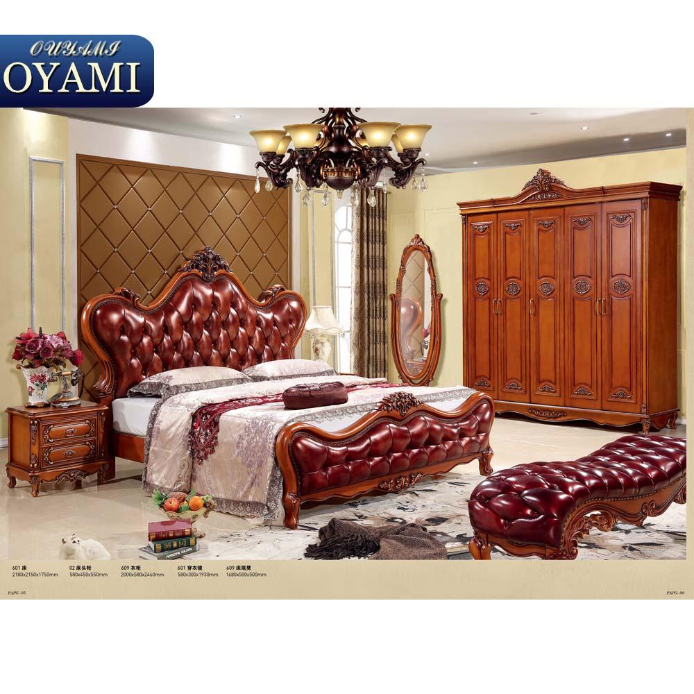 Weiße Farbe Antike Königlichen Luxus Dubai Schlafzimmer Möbel