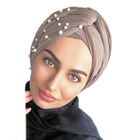 Exclusive Design Women Tube Islamic Arab Head Scarf Pearled Wrap Hat Indian Suede Hijab Turban With Beaded Muslim Caps Bonnets