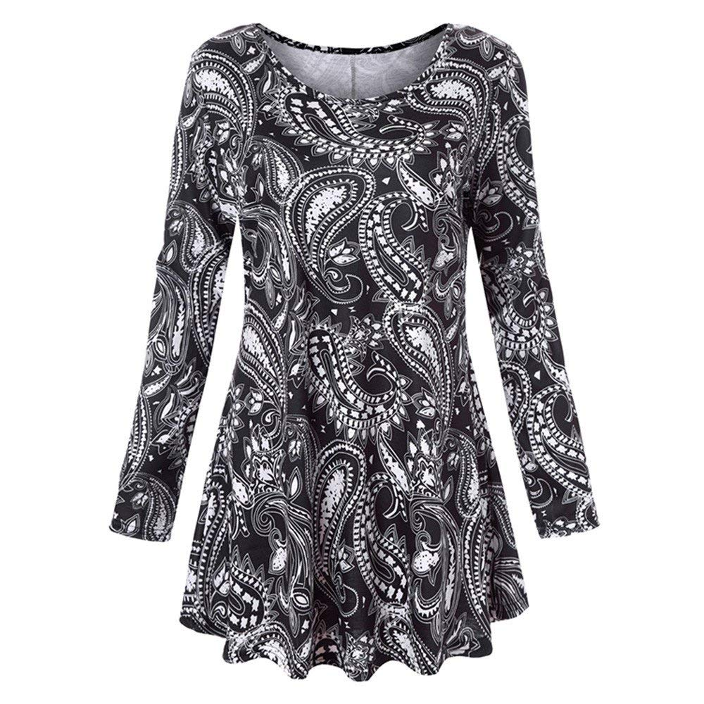 DOINSHOP Summer Blouse Womens Floral Printed Tunic Shirts Long Sleeve O Neck Tops (Black, S)