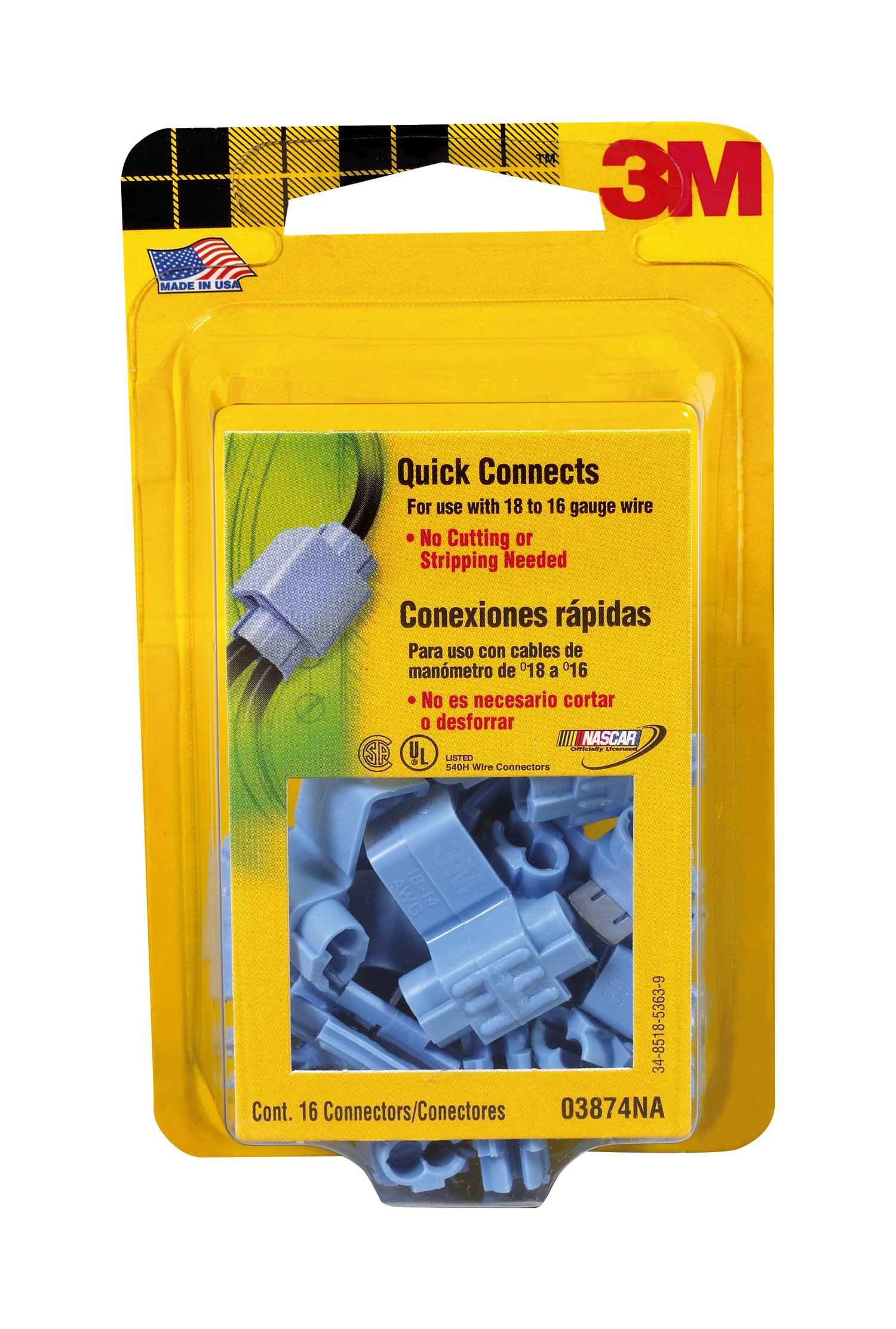 3M 03874NA 18-14 Gauge Electrical Connectors 16 Quick Connects, Blue, 16-Pack