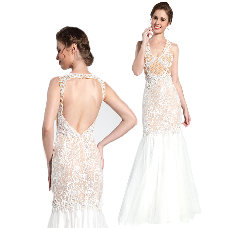 Latest design sleeveless lace beaded formal evening gown with low price