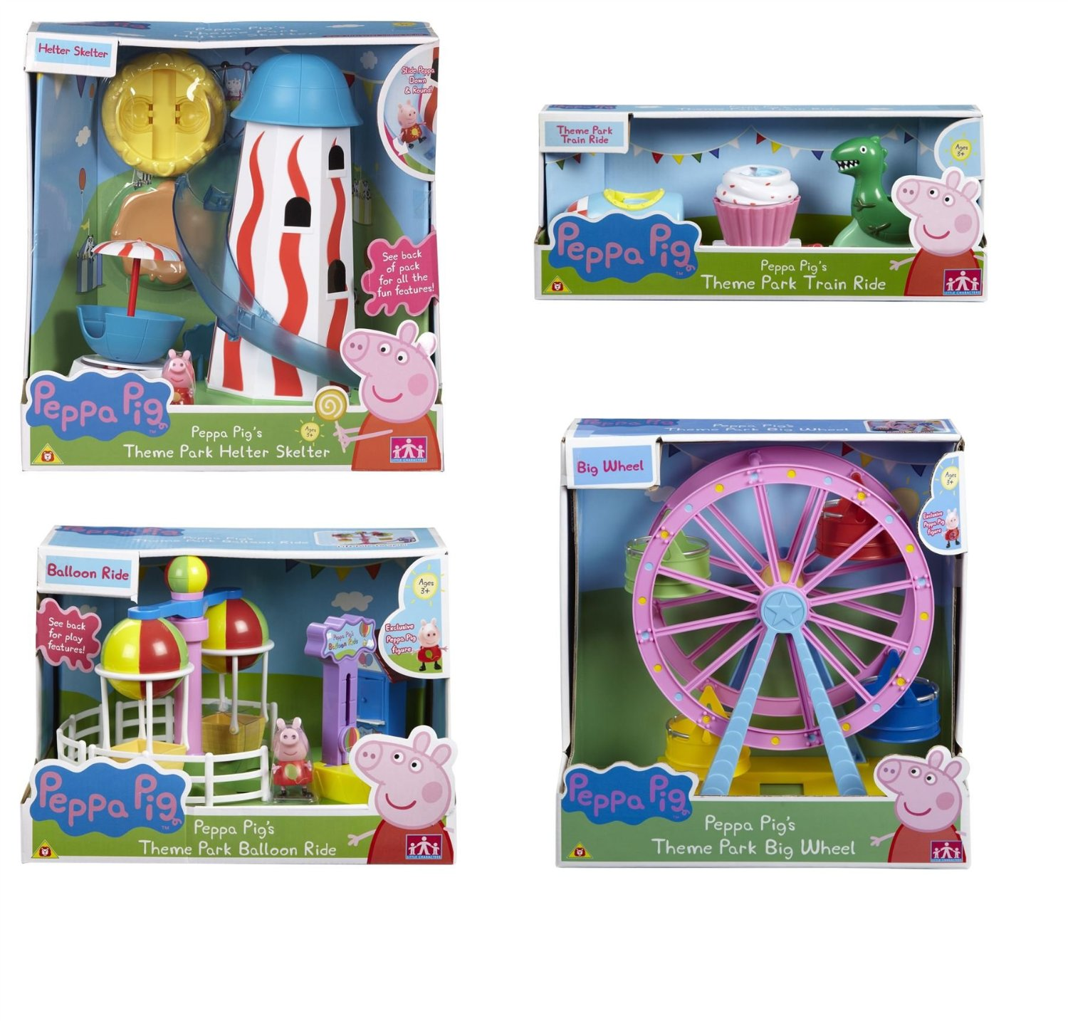 Peppa Pig's Theme Park BUNDLE - Helter Skelter & Ferris Wheel & Balloon Ride & Train Ride 4 Items (Dispatched from UK)