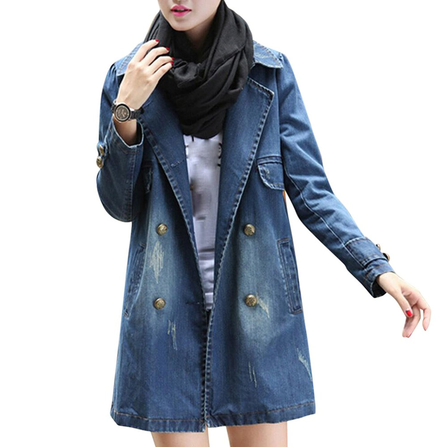 Women Jacket, Gillberry Women Casual Long Sleeve Denim Jacket Long Jean Coat Outwear Overcoat