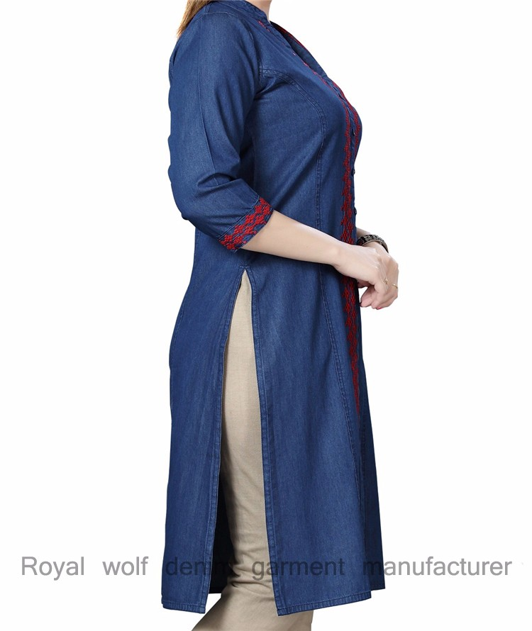 139ac0143e Royal wolf denim dress manufacturer ladies jeans kurta kurti clothing embroidered  kurta denim. More links about our factory you may interested in