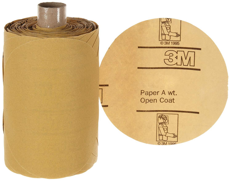 "3M Stikit Gold Paper Disc Roll 216U, Paper, PSA Attachment, Aluminum Oxide, 5"" Diameter, P220 Grit, Gold (Pack of 1)"