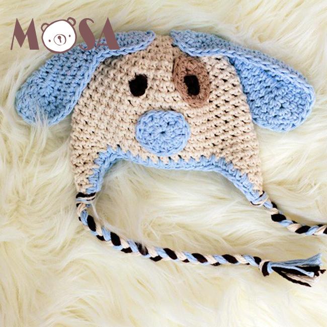 Crochet sombrero cachorro de perro blanco azul recién nacido al niño tamaño  disponible a4873e93215