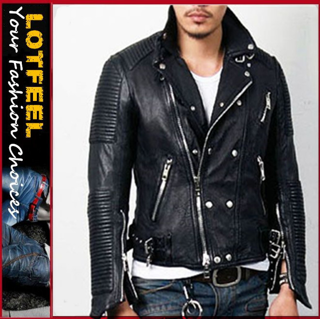 Mens Discount Tumbled Leather Biker Jacket (LOTG236)