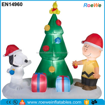 peanuts charlie brown snoopy tree christmas airblown inflatable