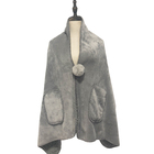 2019 new design faux fur mink sherpa warming wrap household velvet solid shawl