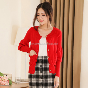 2018 new fashion knitted cable wool cashmere cardigan for nurses