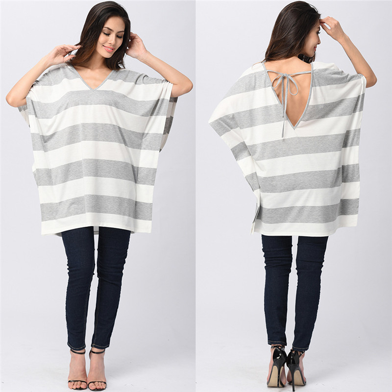 Plus Size Summer Clothes Hot Women Fshion Stripe Pullover Loose Bat-sleeve Blank Girls Casual Custom T Shirt T-shirts