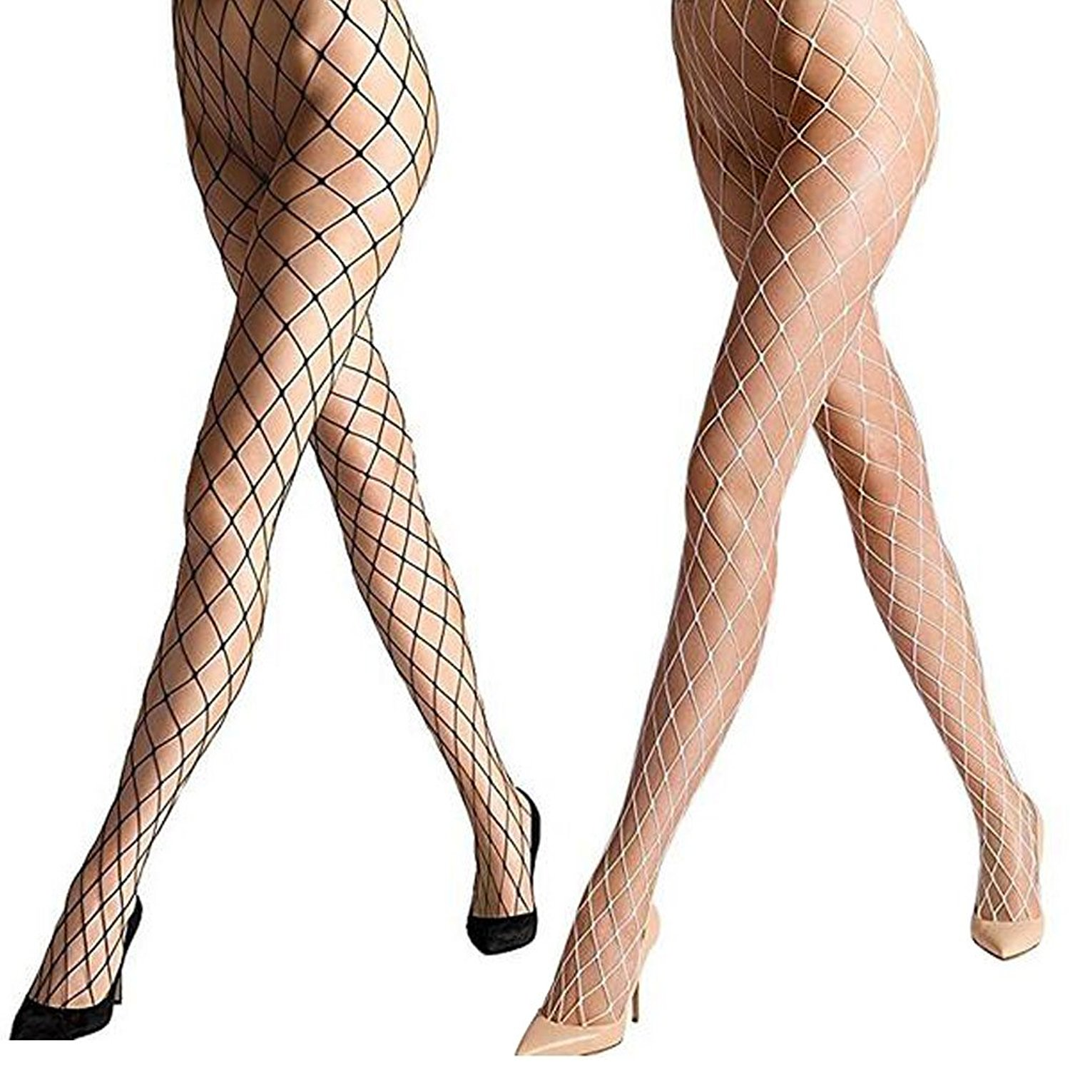 325e1ee319b Get Quotations · Women s Sexy Fishnet Pantyhose Sheer Lace Stocking Tights  Control Top Reinforced Toe Silk Sexy Panty Hose