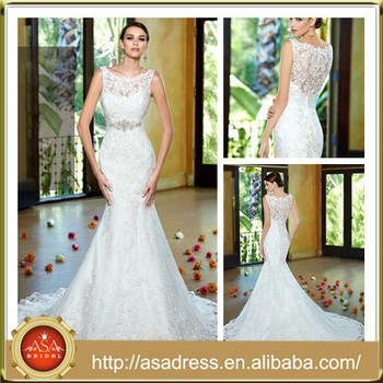 Kc16 Italian Elegant Mermaid Bridal Gowns Lace Illusion Back ...