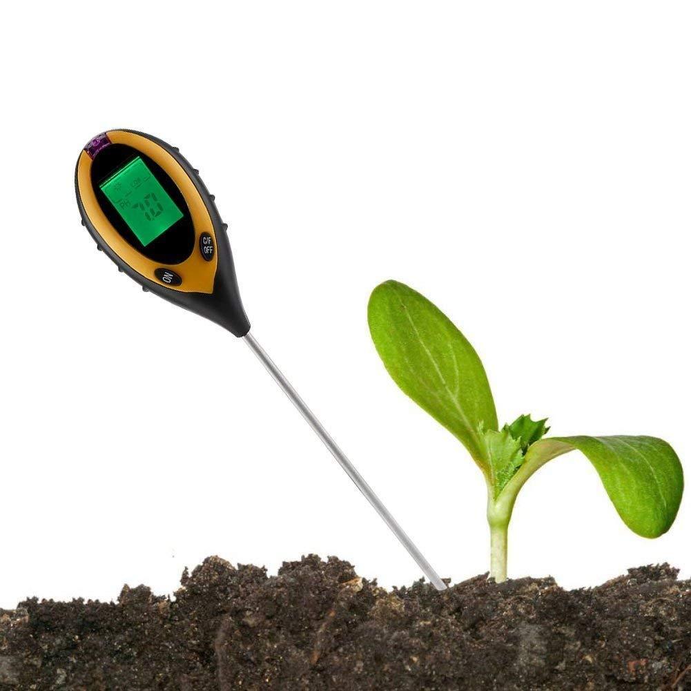Dewin Soil PH Tester - 4 in 1 LCD Moisture Temperature Sunlight PH Tester Meter Garden Soil