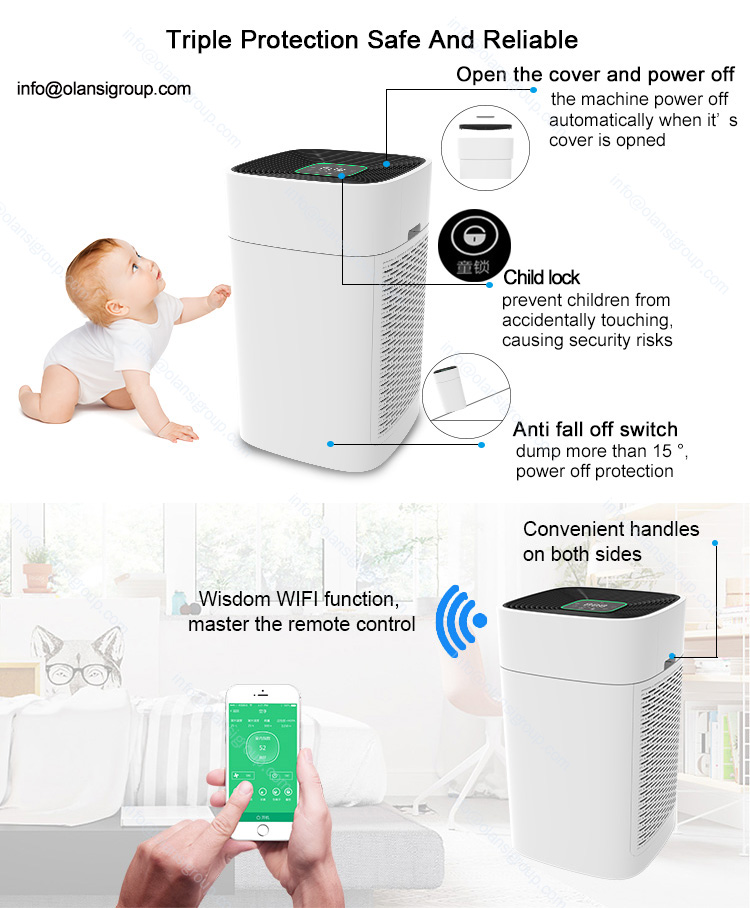 home room return pulley air purifiers Wifi APP Remote Control anion air purifier manufacturer