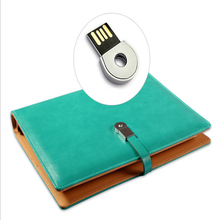PU leather notebook 4GB USB flash drive with Loose-leaf binder planner