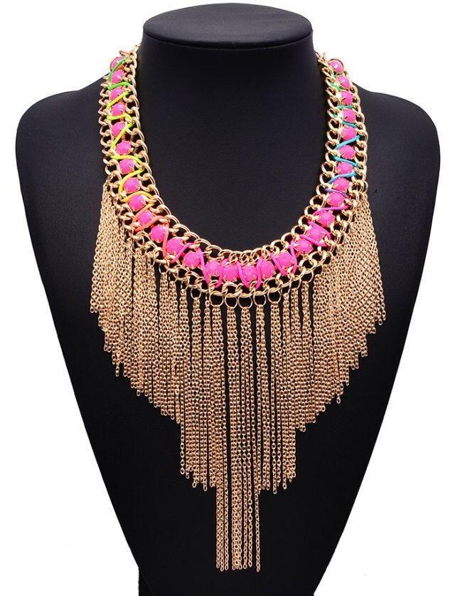 9a8f7ee42ec1 Collares de moda 2015 oro cadenas borla collar collar étnico ...
