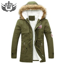 2015 New Arrival Fashion Men Winter Thick Warm Fur Collar Cotton-Padded Coat Jacket Men Parkas Hooded Coat Outdoor Jacket S-4XL