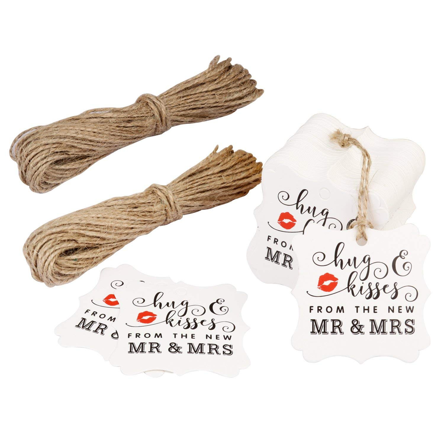 FASOTY Personalized Wedding Tags 100 PCS Paper Gift Tags Square Tags with 2 Bundles of 10 m Natural Jute Twine Rope Perfect for Bridal Wedding Anniversary (White)