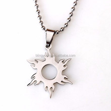 Custom chain stainless steel sun shape pendant with high quality