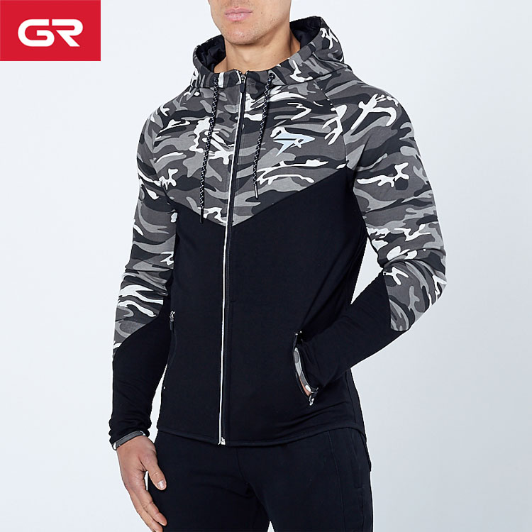 High Quality Slim Fit Camo Printed Reflective Zip Mens Custom Gym Hoodie