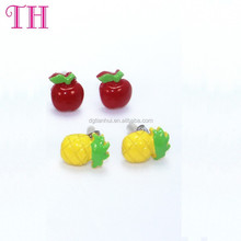 Best price resin apple and pineapple shape china fashion earring designs new model earring design