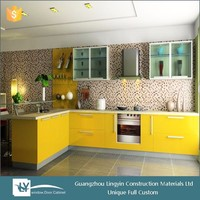 2015 modern modular yellow satin MDF lacquer hinging kitchen cabinet with frosted glass door