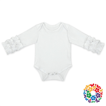 5227ed796699 Newborn White Solid Color Raglan Baby Diaper Romper Plain Icing Triple  Ruffle Soft Cotton Rompers Baby
