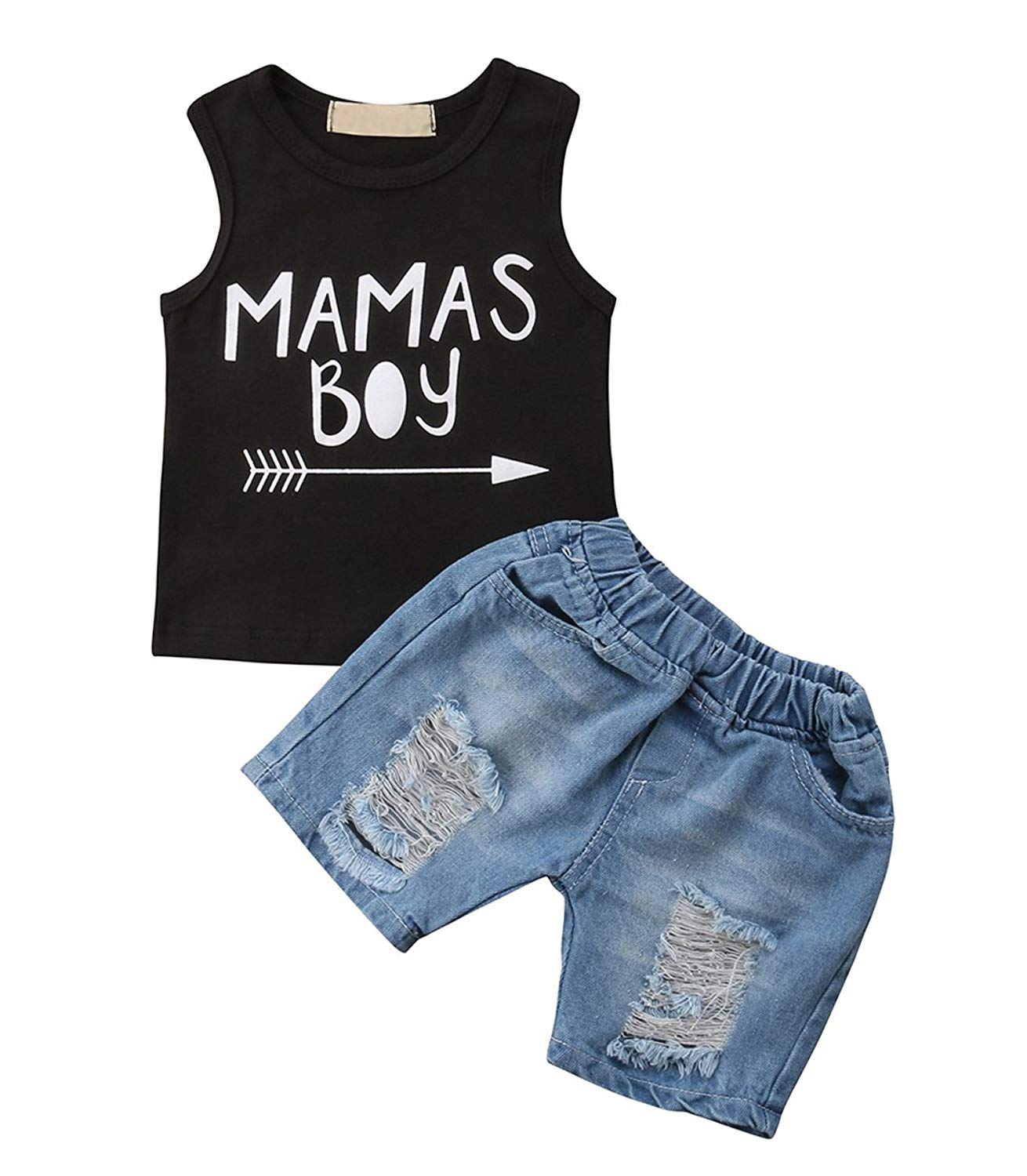 36f47d371f4f Get Quotations · MUNIMINI Mama's Boy Toddler Boys Sleeveless Tank Vest Top  and Ripped Jeans Short Outfit