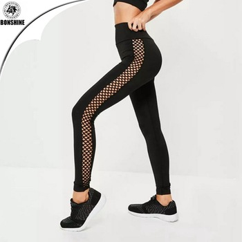 2017 summer popular new style side mesh hollow yoga sports leggings