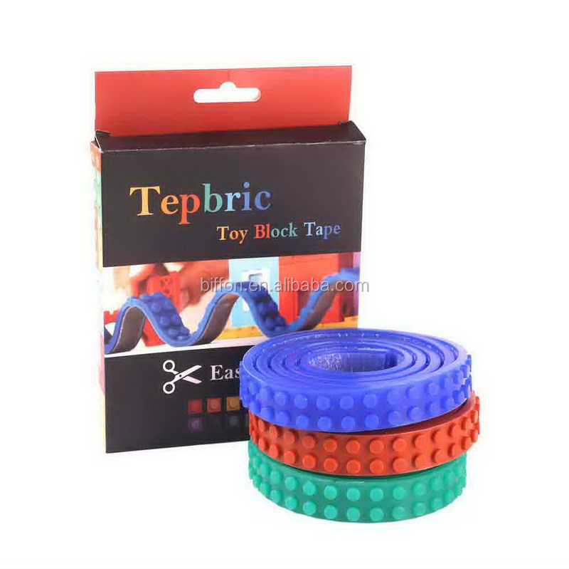 1m length Legos tape Nimuno Loops legos brick tape food grade silicon sticky legos block toy tapes 10 colors to choose