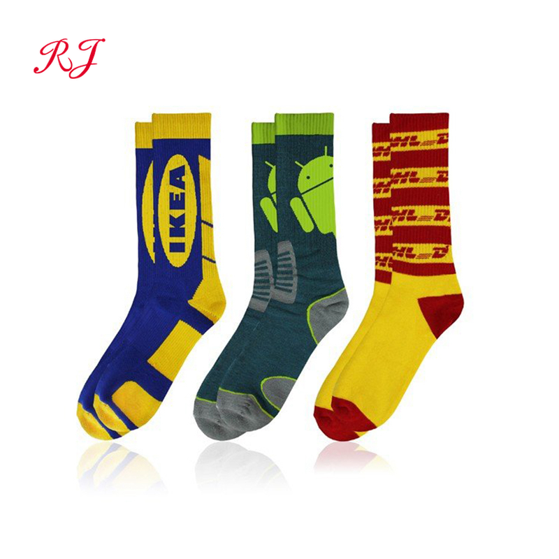 RJ-II-0824 custom woven socks oem designer custom design own logo men crew socks private your label bamboo cotton man sock