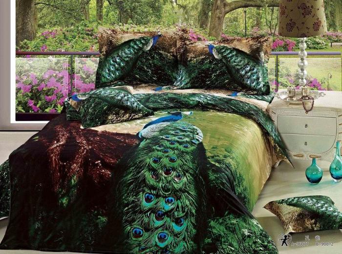 Peacock Bed Linen: 3D Green Peacock Bird Feather Print Bedding Set Queen Size
