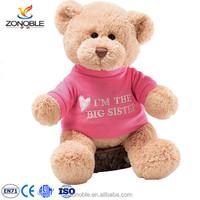 Wholesale lovely personalized dressed teddy bear popular stuffed pink plush teddy bear