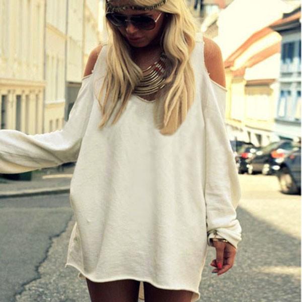 c160182b7c9 Sexy Women V-neck Off Shoulder Short Dress Long Sleeve Baggy Dresses Casual  Plus Size vestidos Loose Long Blouse Tops
