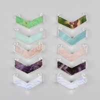 chevron v shape gemstone pendant with multi stone , sterling silver plated pendant