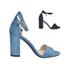summer new ankle strap navy blue high heels shoe jobs heel sandals CHUNKY HEELS