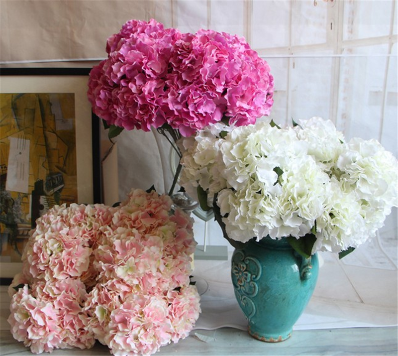 Hot sale 5 headssilk <strong>flowers</strong> artificial colorful hydrangea silk <strong>flower</strong> for indoor decoration
