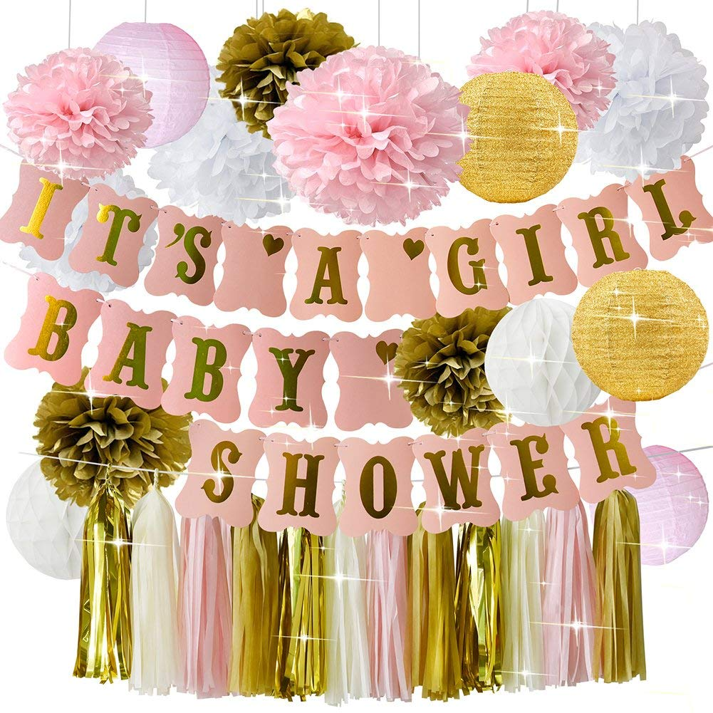 HappyField Baby Shower Decorations for Girl Pink Gold Baby Shower IT'S A Girl Banner Tissue Pom Poms Paper Lanterns Paper Honeycomb Balls Tissue Tassel Party Supplies