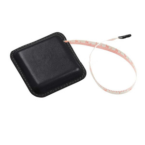 Black Cowhide Leather Locking Square Tape Measure with Press-release Retraction