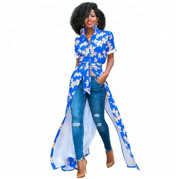 0fe6f920b8 Womens Bohemian Floral Printed Open Front Africa Long Tunic Blouse Tops  Shirt Maxi Dress