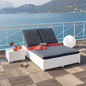 Outdoor Furniture Rattan Outdoor Cabana Beds Double Sun Lounger
