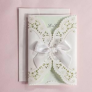 Elegant Wedding Invitation, Embossed White Invitation, Ribbon Bow Wedding Invitation Cards - Pack of 50 (Customized)