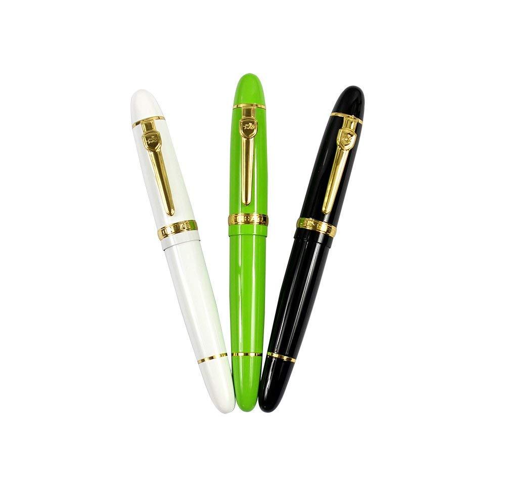 Ranvi JinHao 159 Fountain Pen With Gold Trim, 0.5MM Medium Nib, 3 PCS ,3 Colors (Black, White, Green)