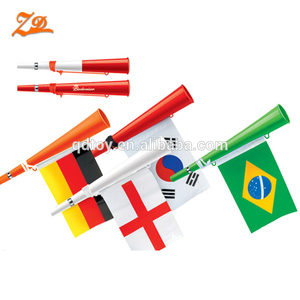 Hot sale plastic cheering football fan horn with national flag